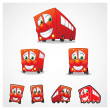 Red Bus Mascot — Stock Vector