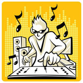 Music DJ in action. — Stock Vector