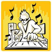 Music DJ in action. — Stock Vector