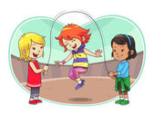 Skipping Jump Play — Stock Vector
