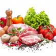 Still life with raw pork meat and fresh vegetables — Stock Photo