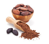 Cacao beans and cacao powder isolated on white — Stock Photo
