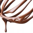 Stock Photo: Whisk with melted chocolate over white