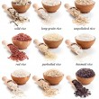 Rice collection isolated on whte - Stock Photo
