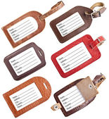 Collection of leather luggage tags isolated on white — Stockfoto