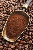 Vintage scoop with ground coffee on coffee beans — Stock Photo