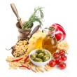 Italian cuisine. Pasta ingredients — Stock Photo