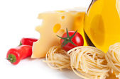 Ingredients for pasta tagliatelle preparing on white — Foto Stock