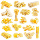 Pasta collection isolated on white — Stock Photo