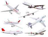 Collection of commercial plane model photos — Stock Photo