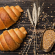 Foto Stock: Retro still life with croissants