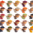Collection of different spices and herbs isolated on white — Stock Photo