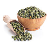 Green peppercorn isolated on white — Stok fotoğraf