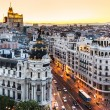 Stock Photo: Panoramic view of GrVia, Madrid, Spain.