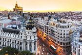 Panoramic view of Gran Via, Madrid, Spain. — Stock Photo
