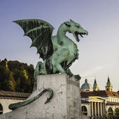 Zmajski most (Dragon bridge), Ljubljana, Slovenia, Europe — Zdjęcie stockowe