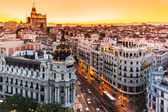 Panoramic view of Gran Via, Madrid, Spain. — Stockfoto