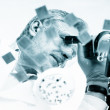 Life science researcher microscoping. — Stock Photo