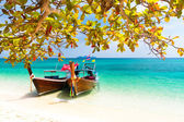Wooden boats on a tropical beach. — Stock Photo