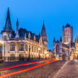 Stock Photo: Leie river bank in Ghent, Belgium, Europe.