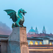 Dragon bridge (Zmajski most), Ljubljana, Slovenia. — Stockfoto