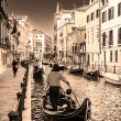 Gondolas on canal in Venice, Italy  — 图库照片