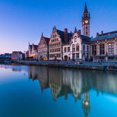 Leie river bank in Ghent, Belgium, Europe. — Stock Photo