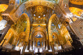 Golden mosaic in La Martorana church, Palermo, Italy — Stock Photo