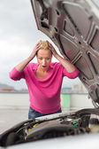 Stressed Young Woman with Car Defect. — Foto Stock