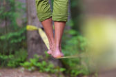 Slack line in the nature. — Stock Photo