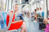 Lady traveling by metro. — Stock Photo