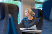 Lady traveling by train. — Stockfoto