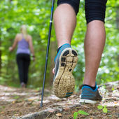 Young couple hiking in nature. Sport and exercise. — Stock Photo