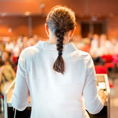 Female academic professor lecturing at the faculty. — Stock Photo