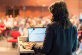 Business woman lecturing at Conference. — Stock Photo