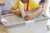 Boy voting on democratic election. — Stock Photo