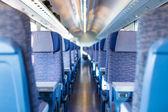 Blue train interior — Stock Photo