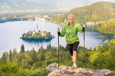 Tracking round Bled Lake in Julian Alps, Slovenia. — Stock Photo