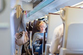 Lady traveling by train. — Stock Photo