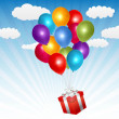 Vector gift box with many balloons in blue sky — Stock Vector