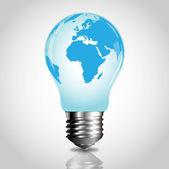 Vector lightbulb with world map — Stock Vector