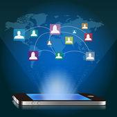 Vector smart phone and social media network — Stock Vector