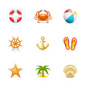 Vacation and sea icons — Stock Vector
