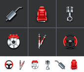 Car parts icons — Stock Vector