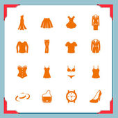 Clothing icons. Women — Stock Vector