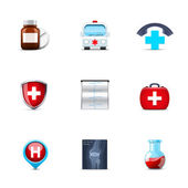 Medical and health-care icons — Stock Vector