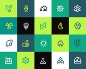 Science icons set. Flat — Stock Vector