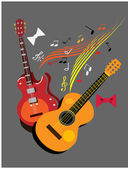 Guitars on the grey background.musical poster. — Stock Photo