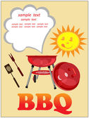 Bbq greeting card,picnic background. — Stock Photo