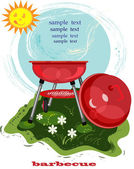 Bbq background with red brazier and funny sun — Stock Photo